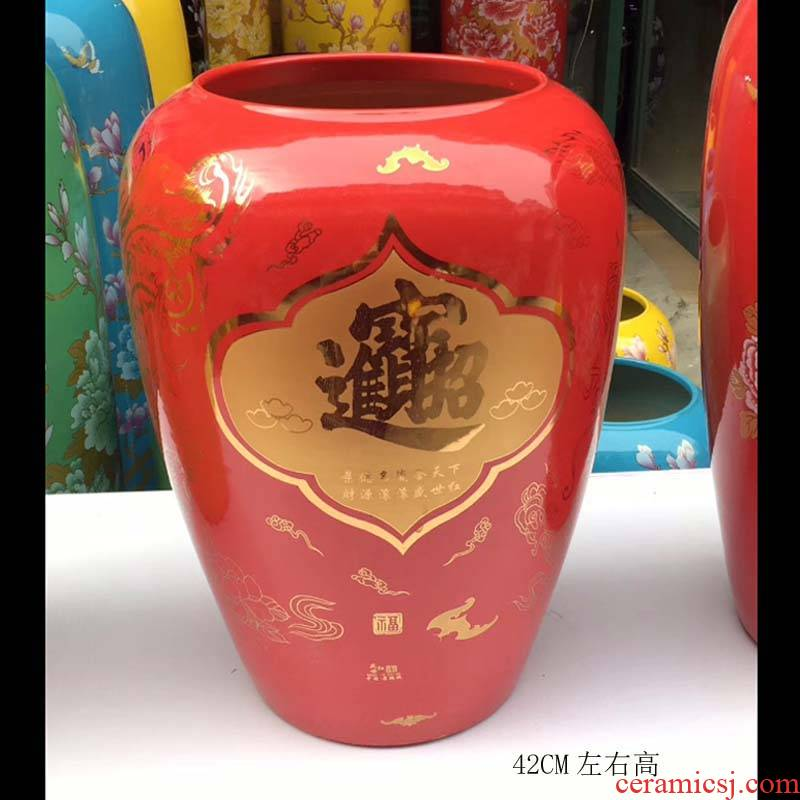Jingdezhen famille rose red bottom prosperous ceramic vase peony warp vase furnishing articles red wedding display products