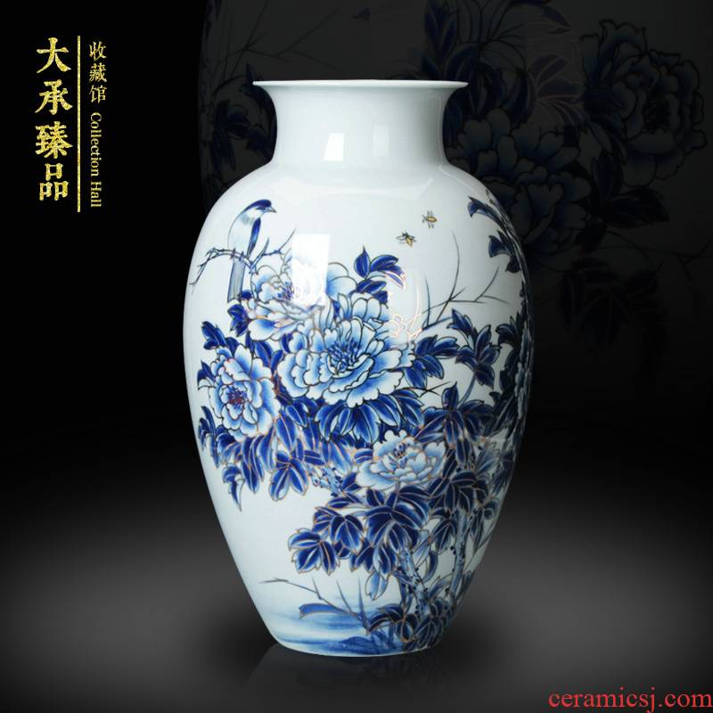 Hand - made famous works of Chinese peony riches and honour mattress in a collection of blue and white porcelain craft vase furnishing articles ornaments