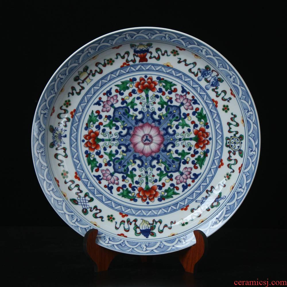 Jingdezhen ceramics high - end antique porcelain dou sat colors hang dish plate modern Chinese handicraft collection