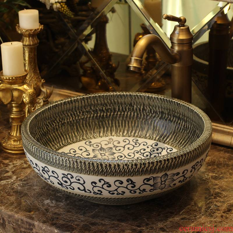 Jingdezhen ceramic stage basin, art basin of continental antique bathroom toilet lavatory sink carved restoring ancient ways
