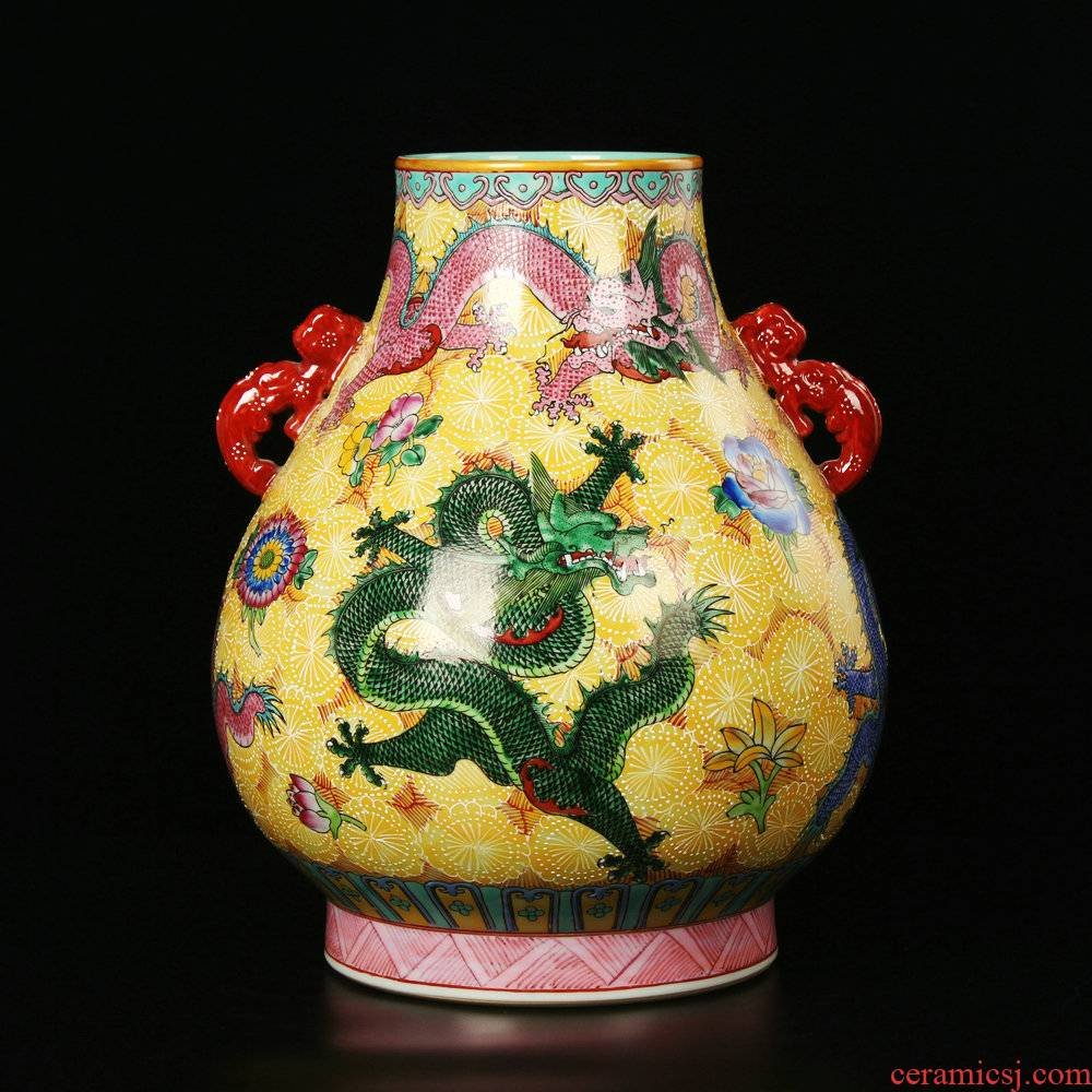 Jingdezhen ceramics archaize principal enamel flower ears wulong cylinder vase a blessing to the modern home furnishing articles