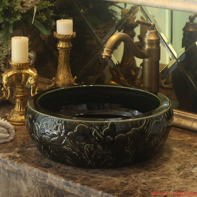 Jingdezhen ceramic stage basin art waist drum Europe type restoring ancient ways hand - carved the lavatory toilet lavabo
