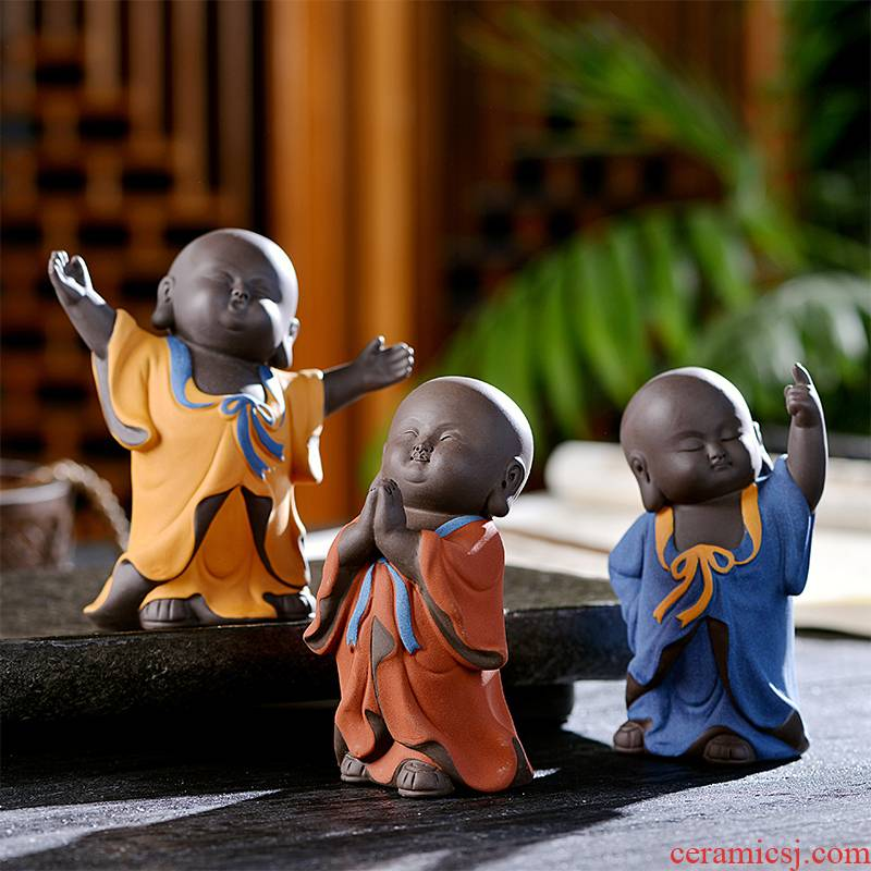 """""""Shadow enjoy"""" violet arenaceous the little novice monk furnishing articles furnishing articles small zen monk tea tray can be a lovely tea tea pet play"""
