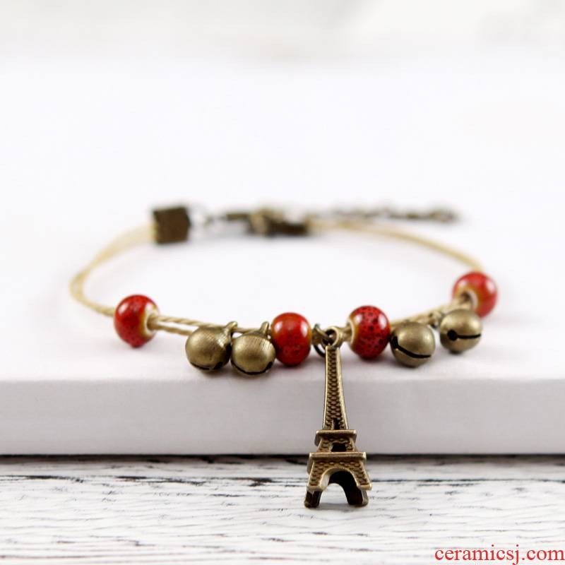 QingGe what checking folk ceramic bracelet with alloy iron tower bell bracelet booth in the string of hand supply of goods