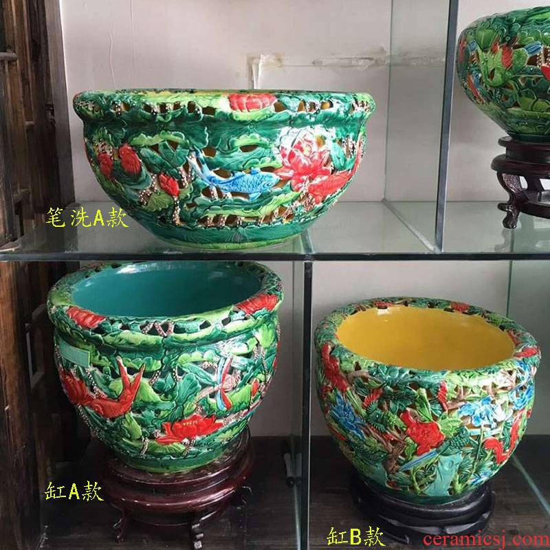 Chinese style antique porcelain that take feel key cylinder color blue and white porcelain high - end display shallow cylinder engraving cylinder