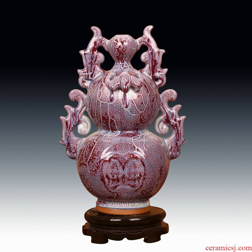 Jingdezhen ceramic vase archaize of jun porcelain up change flower glaze earthworm clay grain bat wing gourd vases