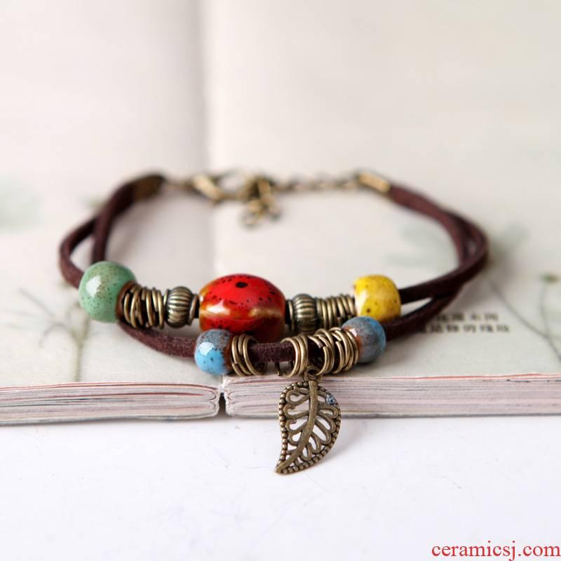 "QingGe what checking ceramic bracelets female hand woven rope national wind restoring ancient ways bracelet set named ""supply"""