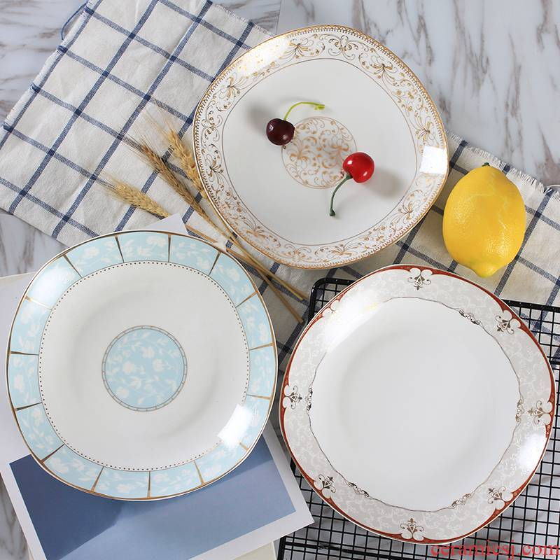 Jingdezhen ceramic household round food dish creative ipads porcelain dumpling dish single soup plate plate microwave tableware