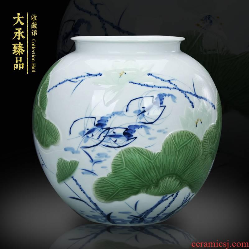 Master LuYiGang jingdezhen ceramics hand - made pea green glaze shrimp boring vase of blue and white porcelain carving crafts