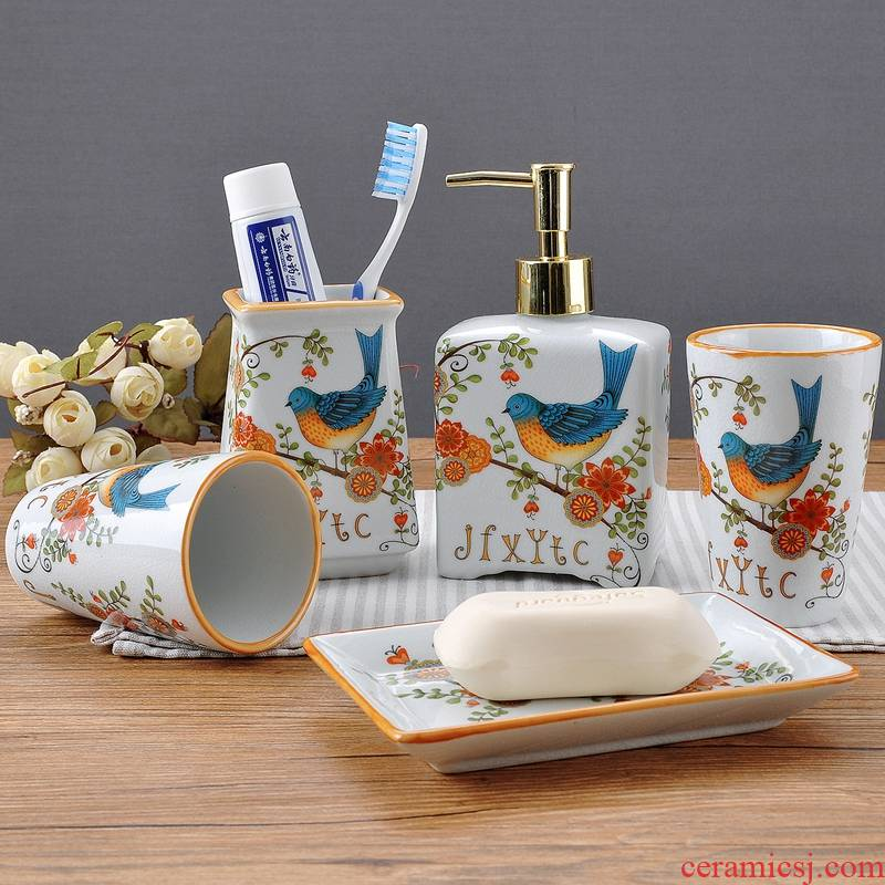 Set the new American ice crack high temperature ceramic sanitary ware has five flower and bird bathroom toiletries mouthwash mouthwash cups
