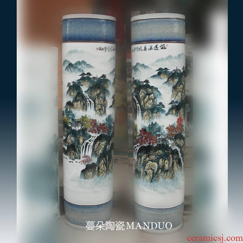 Jingdezhen hand color landscape 150 cm high living room TV ark, big vase art display vase that occupy the home