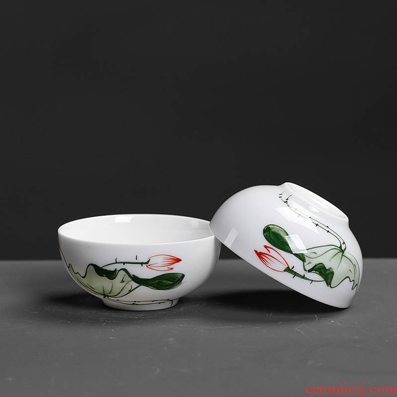 Household ceramic tea set kung fu tea cup single CPU single celadon hand - made master carp fish fish only a cup of tea cups of move