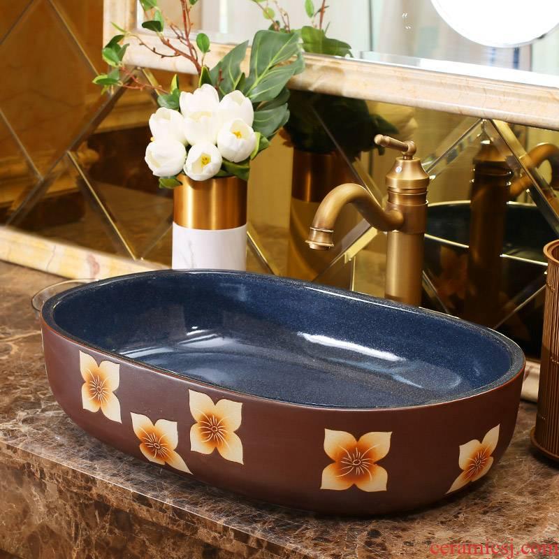 Jingdezhen ceramic stage basin art hotel European archaize elliptical lavatory toilet lavabo