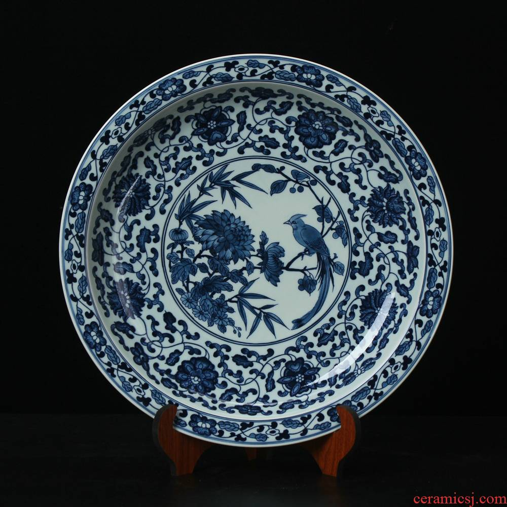 Jingdezhen ceramics high - end antique blue and white peony flowers and birds by plate set up modern Chinese handicraft collection