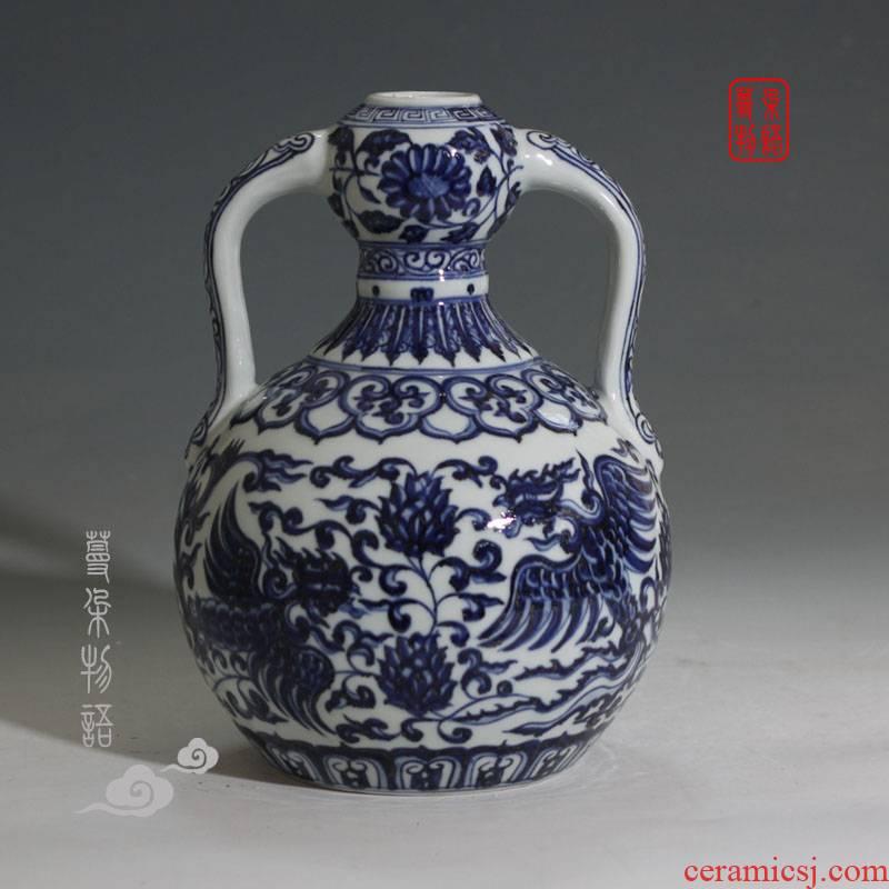 Jingdezhen ruyi gourd display blue and white porcelain vase wishful auspicious grain gourd vases