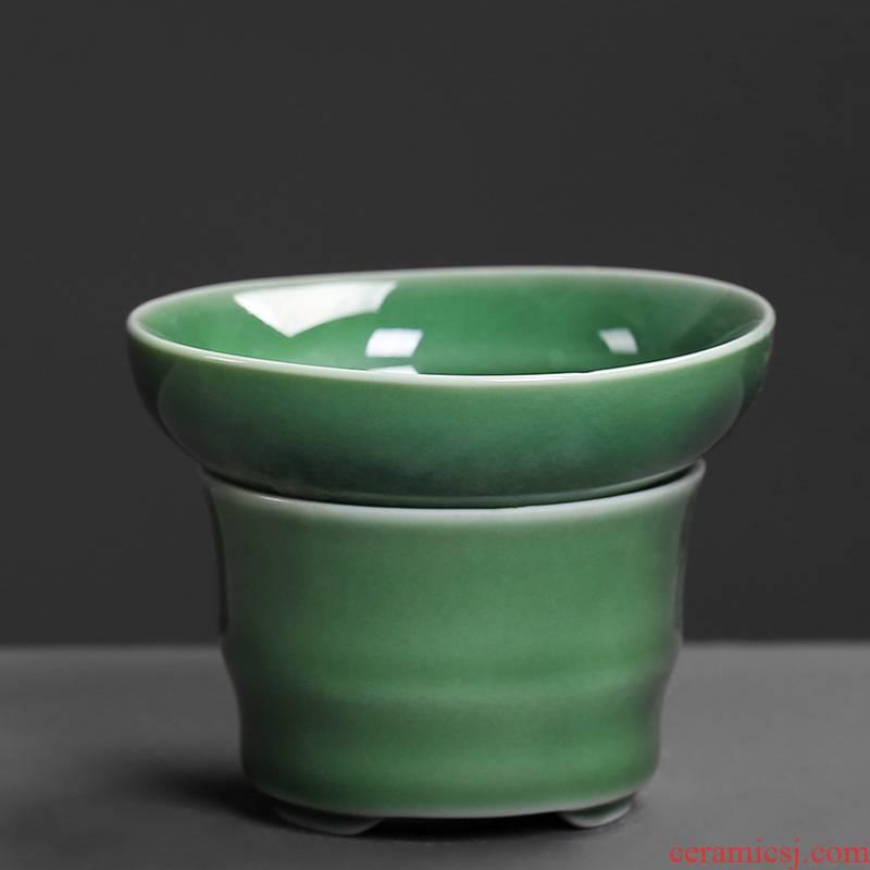 Celadon) ceramic filter tea filter kung fu tea tea set zero with mesh tea tea filters of household
