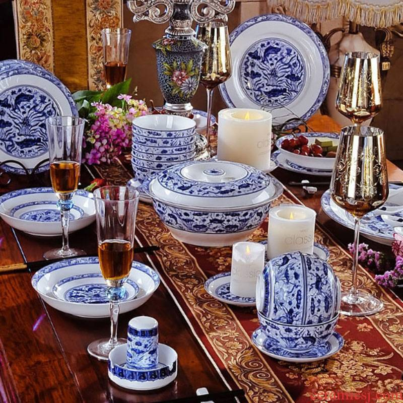 Red xin jingdezhen archaize Ming xuande mackerel algal grain harmony ceramics tableware suit porcelain suit