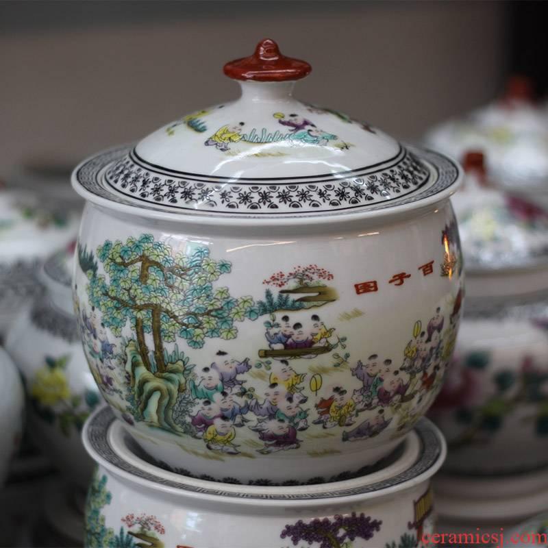 Jingdezhen porcelain jar of the ancient philosophers diagram trumpet the ancient philosophers figure peony tank storage tank porcelain snack jars in the kitchen