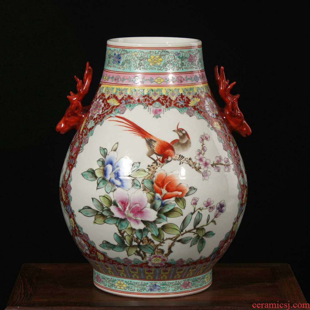 Art famille rose porcelain factory goods ears flower vase peony deer head statute of Ming and the qing Chinese household adornment furnishing articles