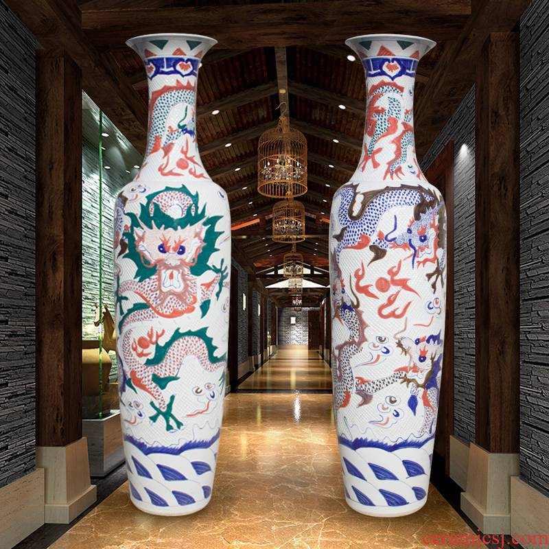 Jingdezhen ceramics of large vases, longteng all yellow glaze hand - made porcelain carving dragon hotel furnishing articles in the living room