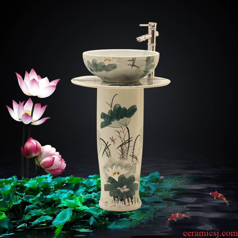 Ceramic column type lavatory basin contracted household floor type basin basin of one - piece toilet balcony column