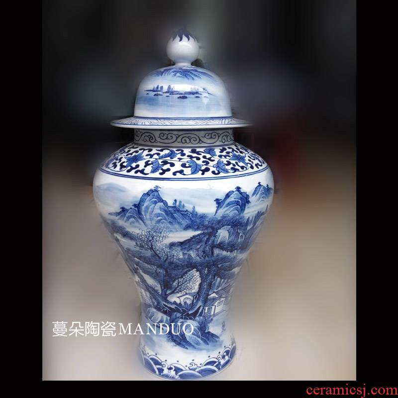 Jingdezhen porcelain, general tank hand - made scenery general canister to display the general blue and white porcelain pot at home