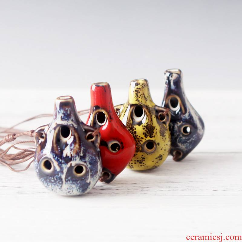 6 Kong Chu QingGe ocarina is instrument street source of jingdezhen ceramics by hand flute variable glaze whistle