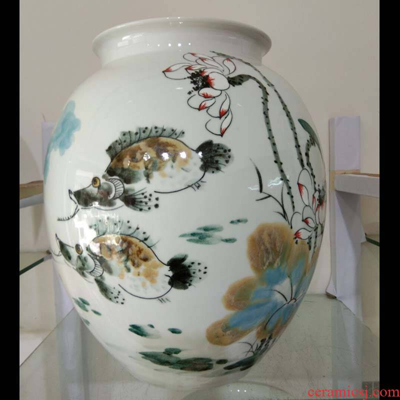 Jingdezhen hand - made ceramic vase furnishing articles hand - made ceramic white gourd lotus pot - bellied ceramic vase household soft outfit