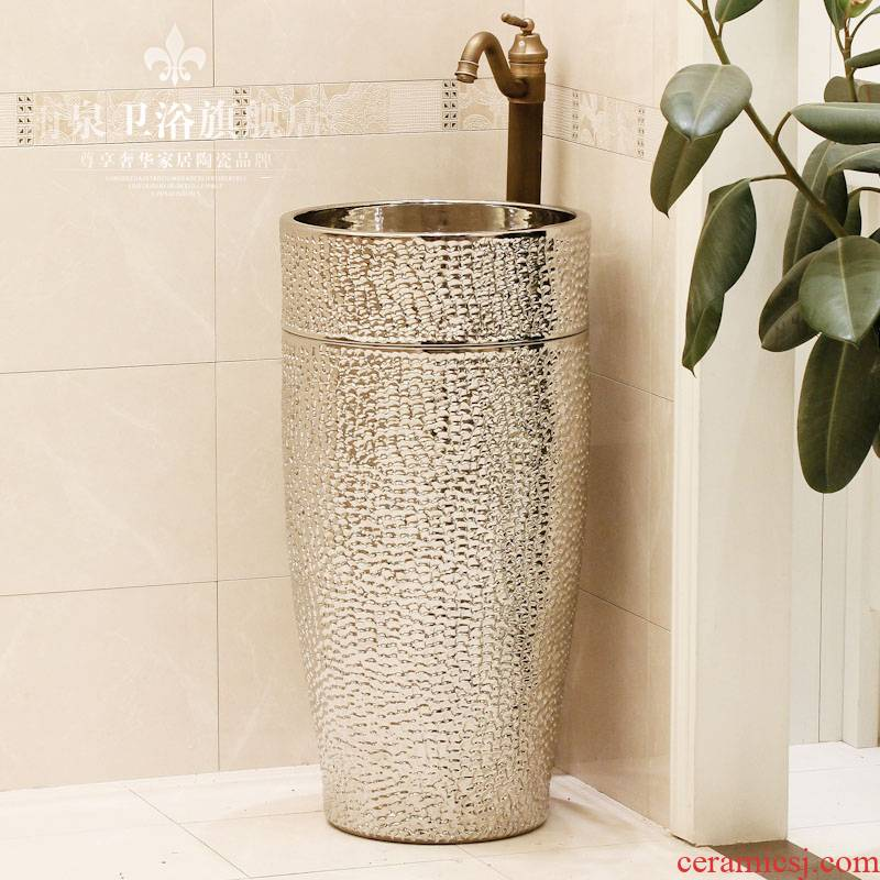 Jingdezhen ceramic art basin pillar basin one - piece lavabo lavatory basin column basin suit