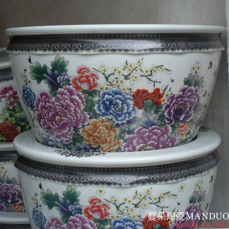 Jingdezhen famille rose porcelain cylinder small porcelain porcelain peony flowers cylinder color cylinder