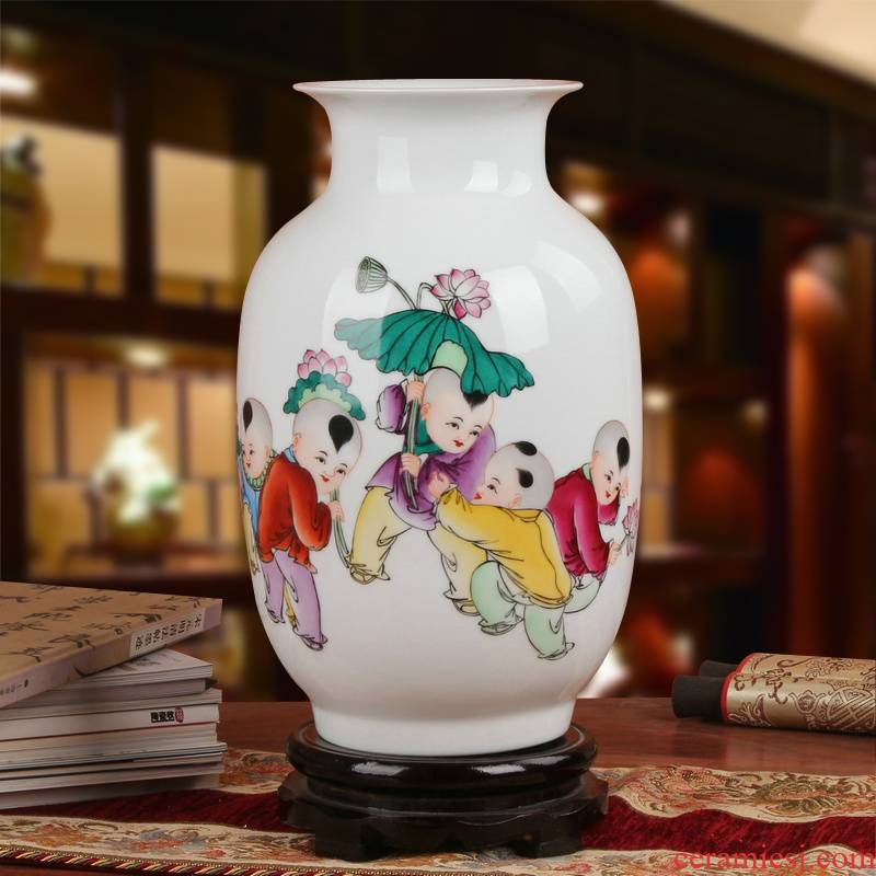 Famous Xia Guoan high - grade gift porcelain vase hand - made works of jingdezhen ceramics powder enamel the lad east gourd bottle