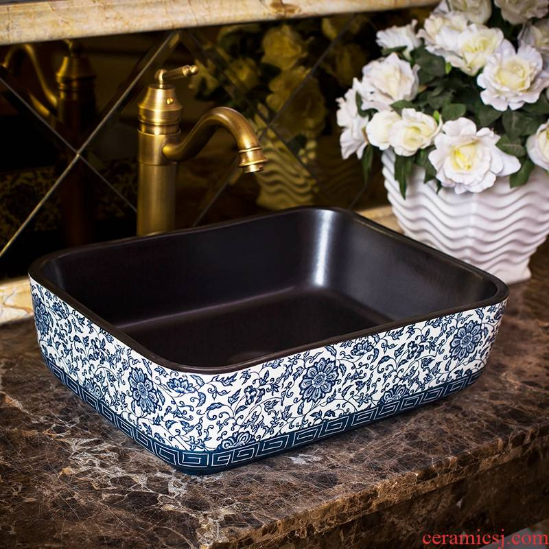Square ceramic art stage basin lavatory basin toilet lavabo restoring ancient ways American household contracted basin