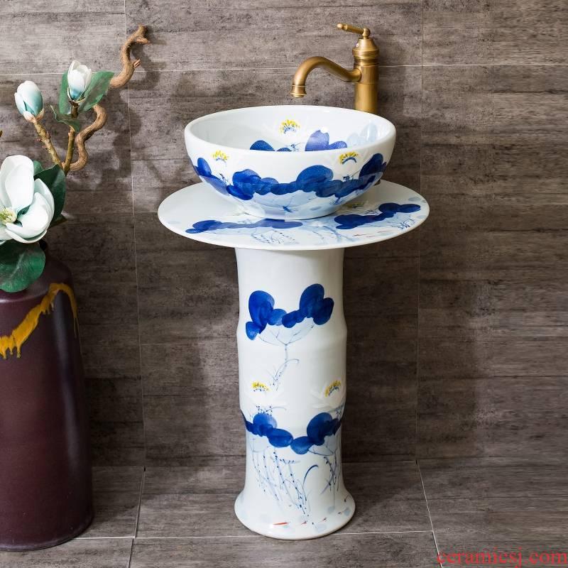 The rain spring basin of jingdezhen ceramic column balcony sink pillar basin art toilet lavatory 2 The basin that wash a face