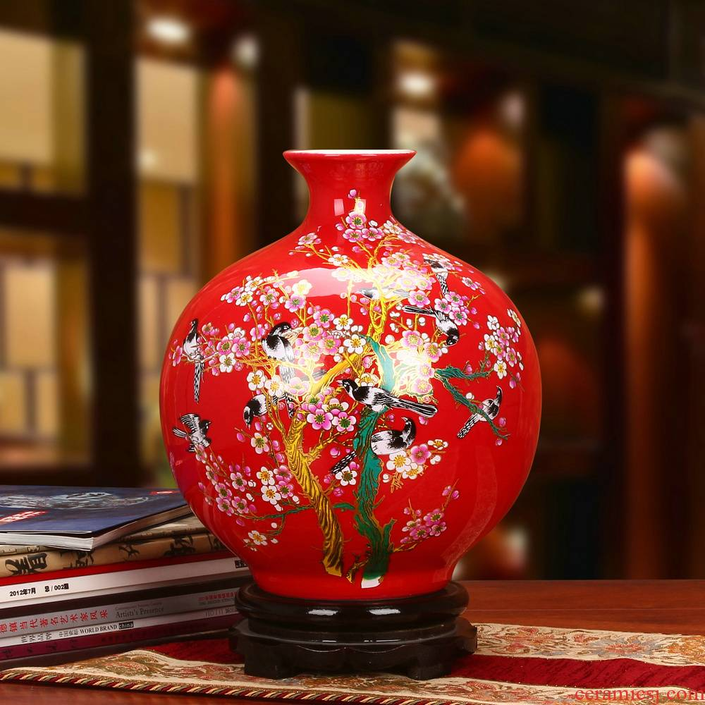The upscale crystal glaze China jingdezhen ceramics beaming pomegranate red ball vase Chinese style household furnishing articles