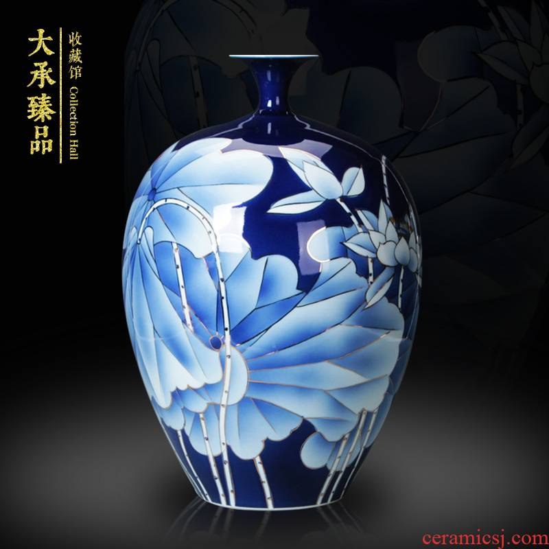 Jingdezhen ceramics the see colour blue and white porcelain vase fashion rural wind lotus flower vase contracted style furnishing articles