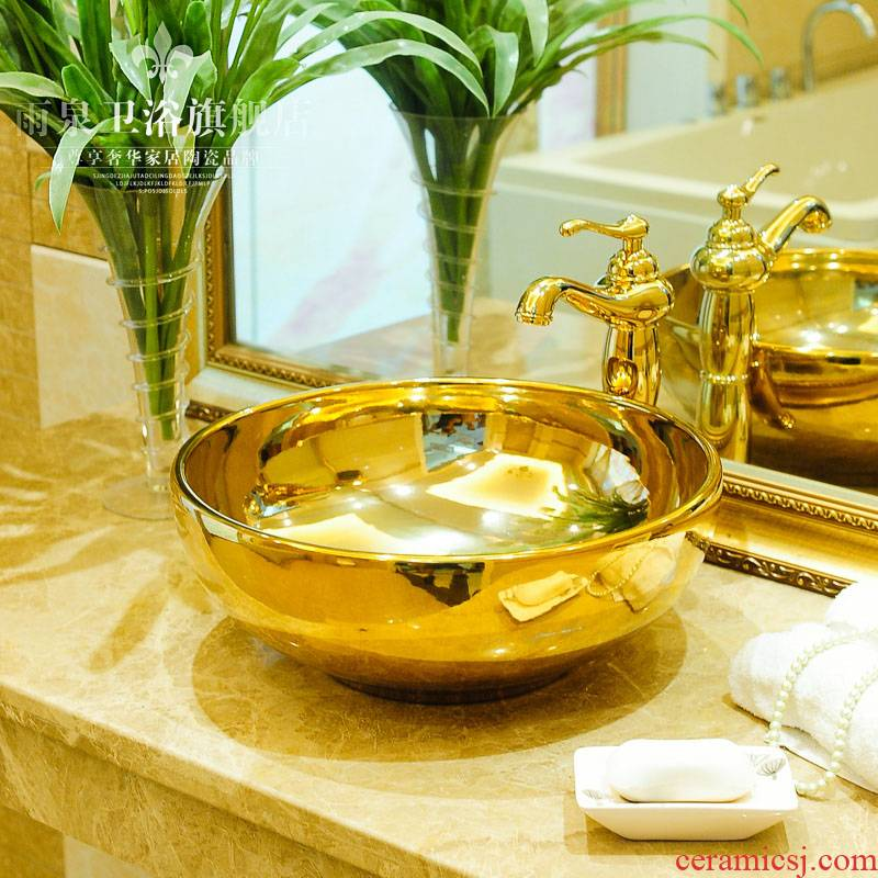Spring rain ceramic sanitary ware basin, art basin basin hotel lavabo lavatory golden covers round the stage
