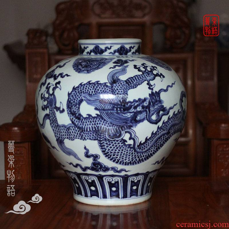 Jingdezhen porcelain imitation jintong dragon tank imitated 2016 Christie 's auction dragon blue and white big pot imitation of says Dr.