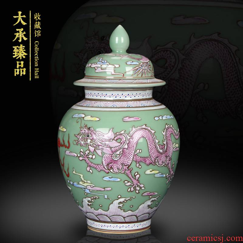Jingdezhen blue and white Chinese dragon playing beads ceramics furnishing articles, general tank storage tank caddy fixings furnishing articles