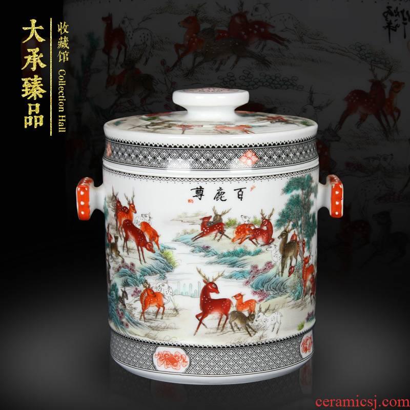 Antique Chinese jingdezhen ceramics tank and tank storage tank lotus leaf best deer figure old man birthday furnishing articles