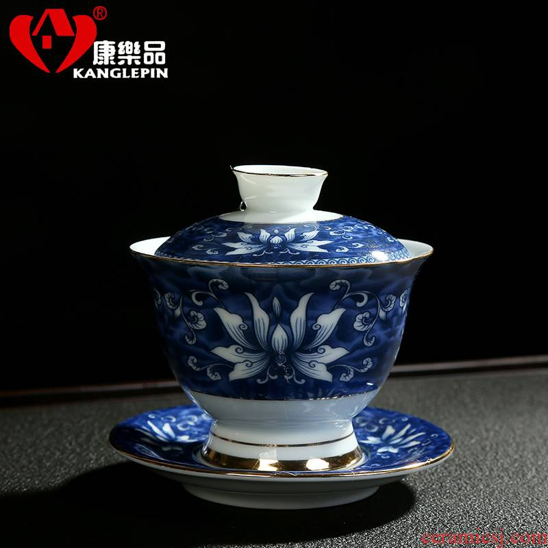 Recreational product celadon kung fu tea set suit household elder brother up with elegant interface for a cup of tea tureen large cups