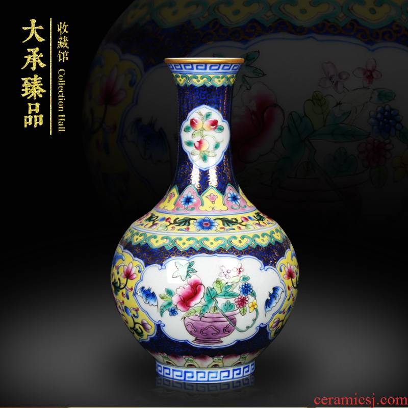 Chinese style antique hand - made jingdezhen ceramics enamel see colour blue open flower vases, small decorations furnishing articles