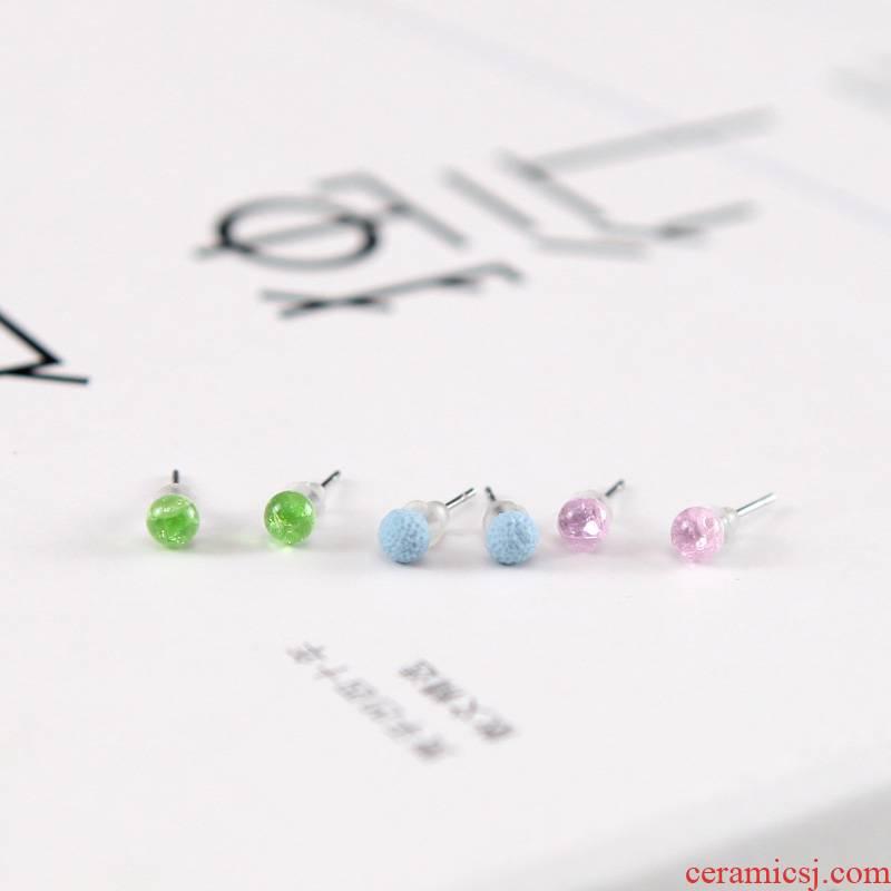 QingGe mini small manual ceramic glaze crystal earrings female joker contracted the ear bones episode lay in steel supply