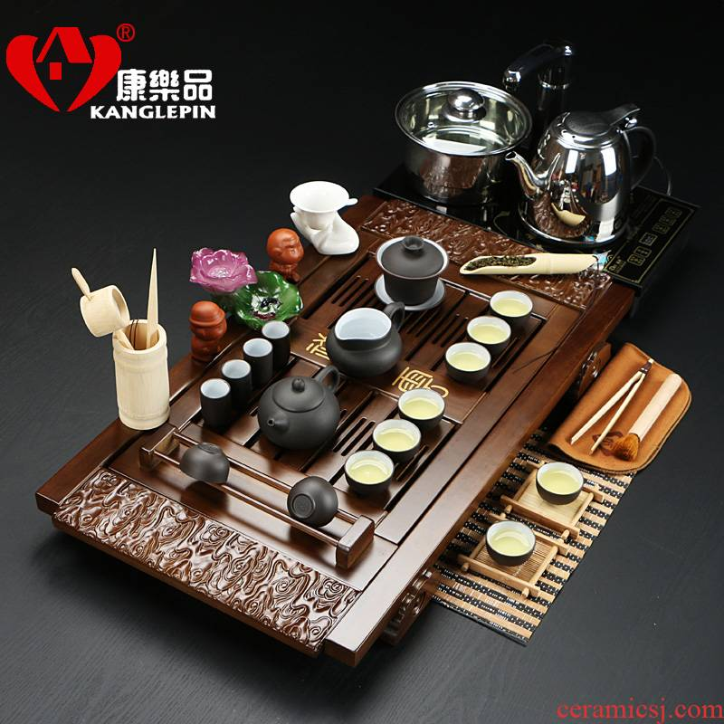 Recreational products a complete set of tea set kung fu tea ice crack glaze violet arenaceous xiangyun four quick combination solid wood tea tray