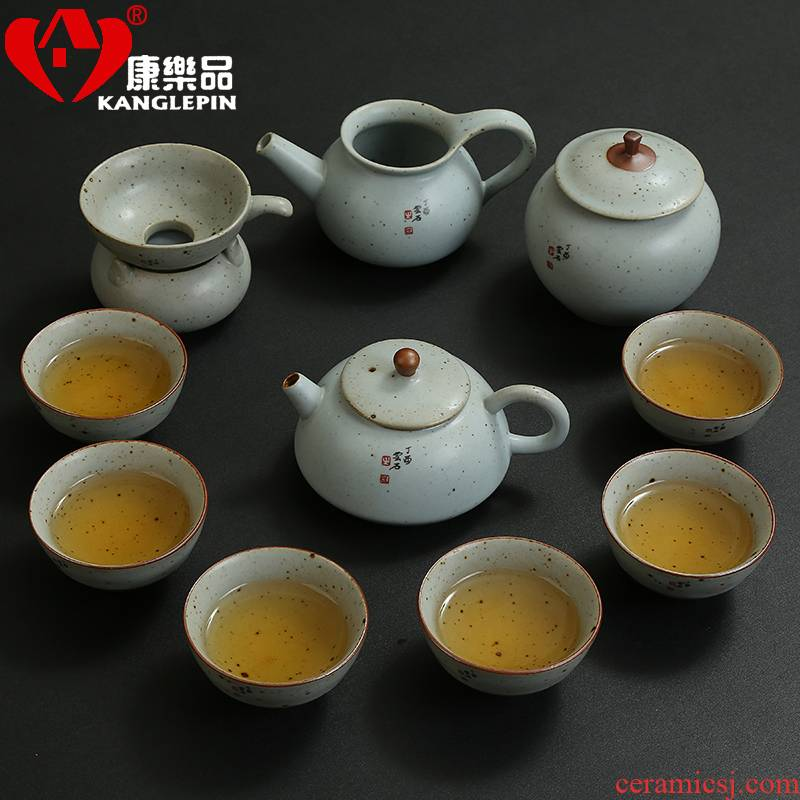 Recreational product kung fu tea set simple 6 people with creative modern ceramic teapot teacup fine suit