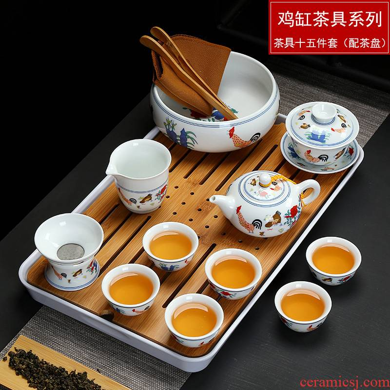 Blue and white porcelain tea sets the whole chicken cylinder cup kung fu tea set Ming chenghua bucket color restoring ancient ways antique tea set tea service