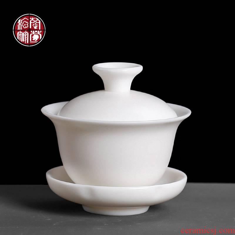 Suet jade bowl is pure manual dehua white porcelain three tureen only three sets of kung fu tea set dip teapot tea cups