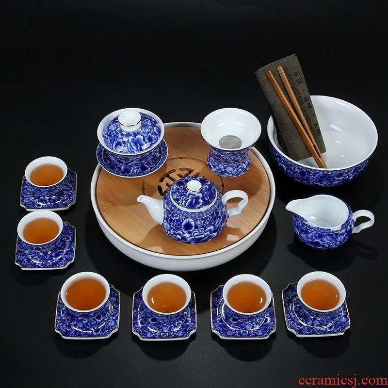 High white, blue and white porcelain tea set the see colour tureen teapot teacup pad set of ceramic tea set tea service parts