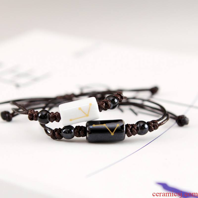 QingGe what hand - made the zodiac small and pure and fresh art van checking ceramic lovers bracelet fashion street source