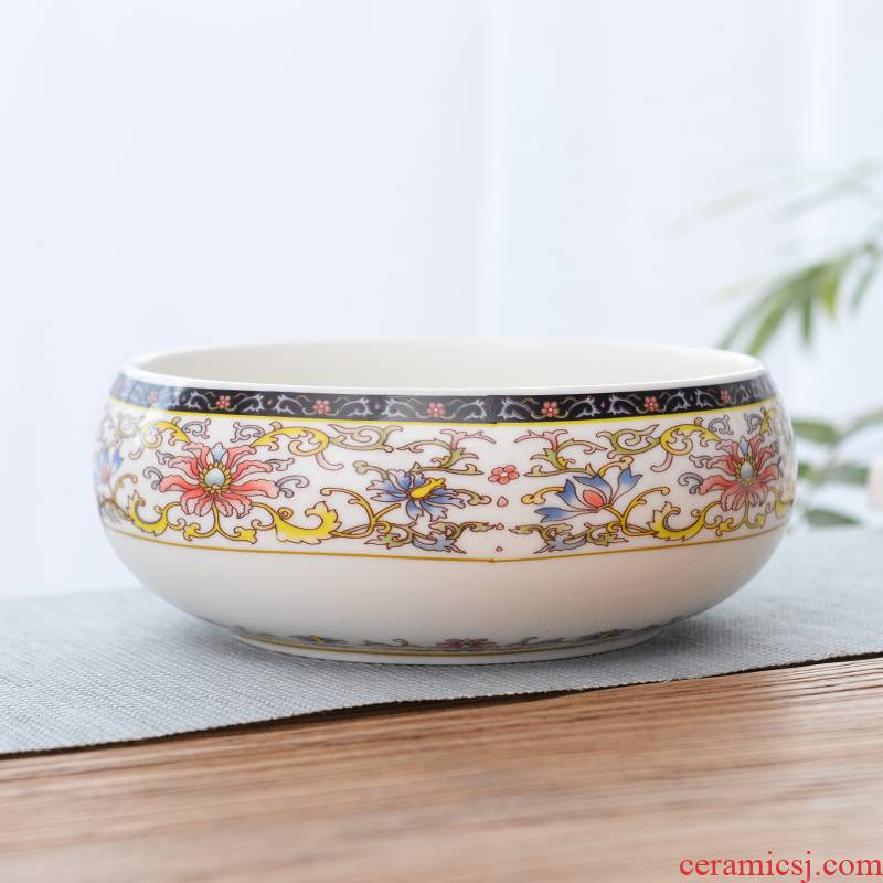 Tea to wash to the ceramic writing brush washer of blue and white porcelain bowl with kung fu Tea pot dishes cup refers to flower pot cultivation Tea accessories