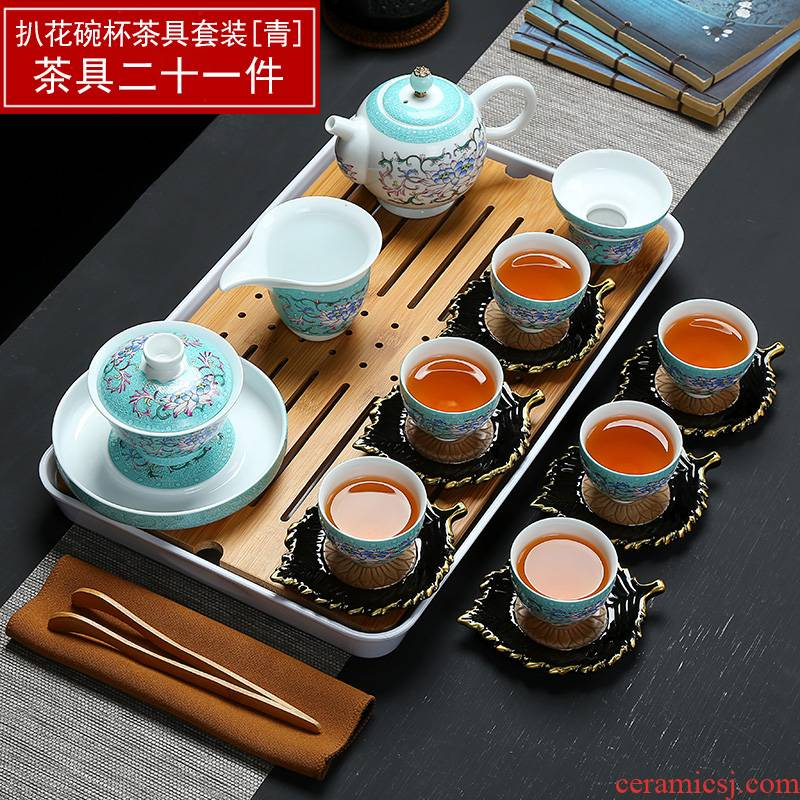 Full color blue and white kung fu tea set manually set ceramic household whole teapot tea cup tureen tea taking group